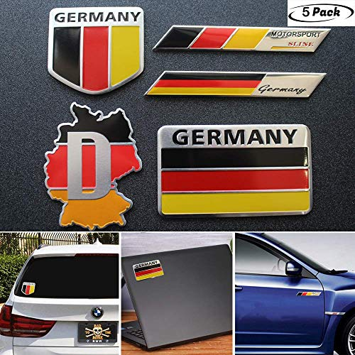 5pcs Germany Flag Decal Sticker - Emblem Made from Aluminum Alloy - Perfect for Any Vehicle, Truck, car, Motorcycle, RV, Scooter,SUV,Door, window