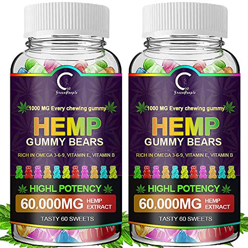 (2 Pack) GPGP Greenpeople Hemp Gummies 60,000mg Extra Strength -120ct - 100% Natural Hemp Oil Infused Gummies Bear Edibles Candy, Promotes Focus Calm, Sleep and Calm Mood