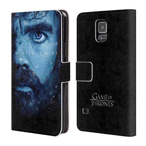Head Case Designs Oficial HBO Game of Thrones Tyrion Lannister - Funda para Coche El Invierno está aquí Carcasa de Cuero Tipo Libro Compatible con Samsung Galaxy S5 / S5 Neo
