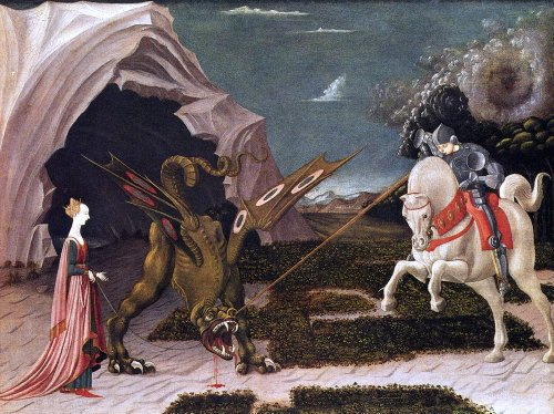 "Art Oyster Paolo Uccello St. George and The Dragon - 21"" x 28"" Premium Canvas Print"