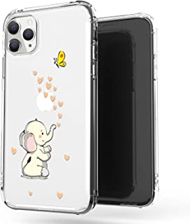 JAHOLAN iPhone 11 Pro Case Clear Cute Design Flexible Bumper TPU Soft Rubber Silicone Cover Phone Case for iPhone 11 Pro 5.8 inch 2019 - Amusing Whimsical Cute Elephant Beige