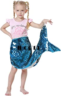 RAN SHAOBA Girls Reversible Sequins Funny DIY Sequins Fish Tail Blanket Children Blankets Blue and Silver 93X70CM