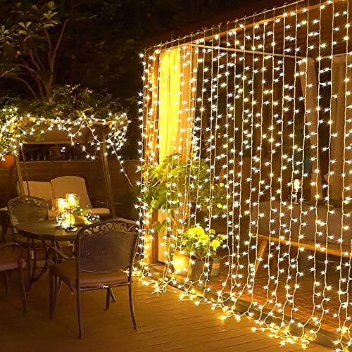 JMEXSUSS Remote Control Curtain Lights 300 LED Window Curtain String Light for Wedding Party Backdrop Home Garden Bedroom Outdoor Indoor Wall Hanging (Warm White)