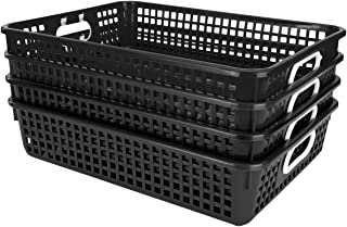"""Really Good Stuff Plastic Desktop Paper Storage Baskets for Classroom or Home Use – 14""""x10"""" Plastic Mesh Baskets Keep Papers Crease-Free and Secure – Black Baskets with White Handles (Set of 4)"""