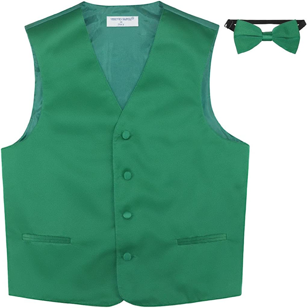 BOY'S Dress New mail order Vest BOW Tie Solid EMERALD Set Color Fees free!! BowTie GREEN