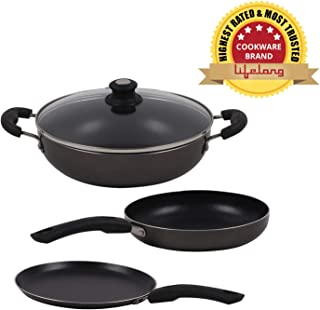 Lifelong Popular Non-Stick Cookware Set, 3-Pieces, Black/Grey