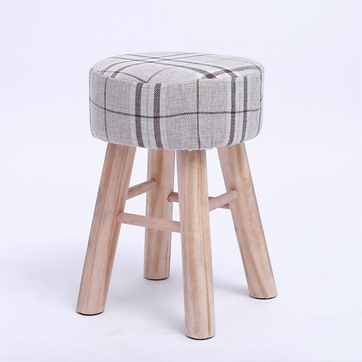 BO Wen Home- Fashion Creative Small Stool Fabric Dwarf Home Solid Wood for shoes Stool Small Bench