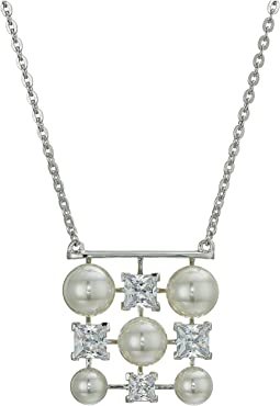 6-8mm Round Pearls Pendant with CZ on Sterling Silver Chain Necklace 16-18""