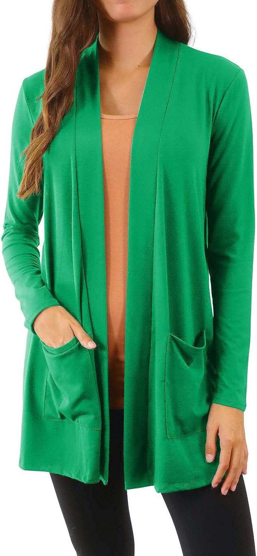 Pure Look Women's Open Front Pockets Long Sleeve Draped Light Cardigan Sweater