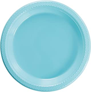 Exquisite 7 Inch. Light Blue Plastic Dessert/Salad Plates - Solid Color Disposable Plates - 50 Count