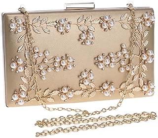 Sturdy PU Clutch Handbag Dinner Handbag Female Europe and America Banquet Handbag Flower Evening Handbag 20 * 12 * 4cm. Large Capacity (Color : Gold)
