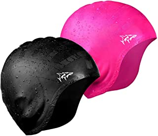 Swim Cap for Long Hair 2 Pack 2019 Thicker Design Solid...