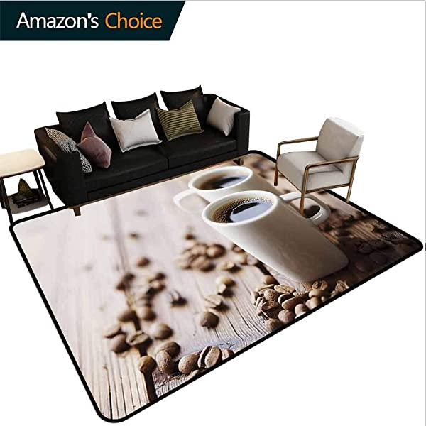 Bigdatastore Coffee Floral Door Matts Indoors Espresso In Cups On Wooden Table With Beans Hot Drink For Romantic Couples Fashionable High Class Living Bedroom Rugs 2 5 X 9