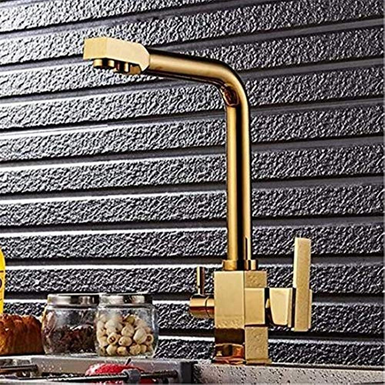 Modern Hei Und Kalt Wasserhahn Vintage überzugarmaturen Waschtischmischer Küche Gold Wasserhahn Warmes Und Kaltes Wasser Lokales Gold Direktes Trinkwasser Drehbar