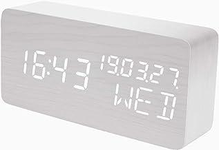 Raercodia Alarm Clock Wooden Digital Clock Decorative Modern LED Desk Clock Display Time Date Week Temperature Sound Contr...