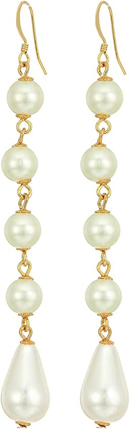 Kenneth Jay Lane - Gold and Cultura White Pearl 5 Drop Fishhook Earrings