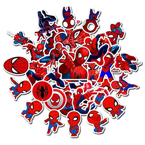 BUCUO Spider-Man Doodle Sticker Cool Cartoon Clip de la Etiqueta engomada de los niños Guitarra Scooter Etiqueta Impermeable 35 Uds