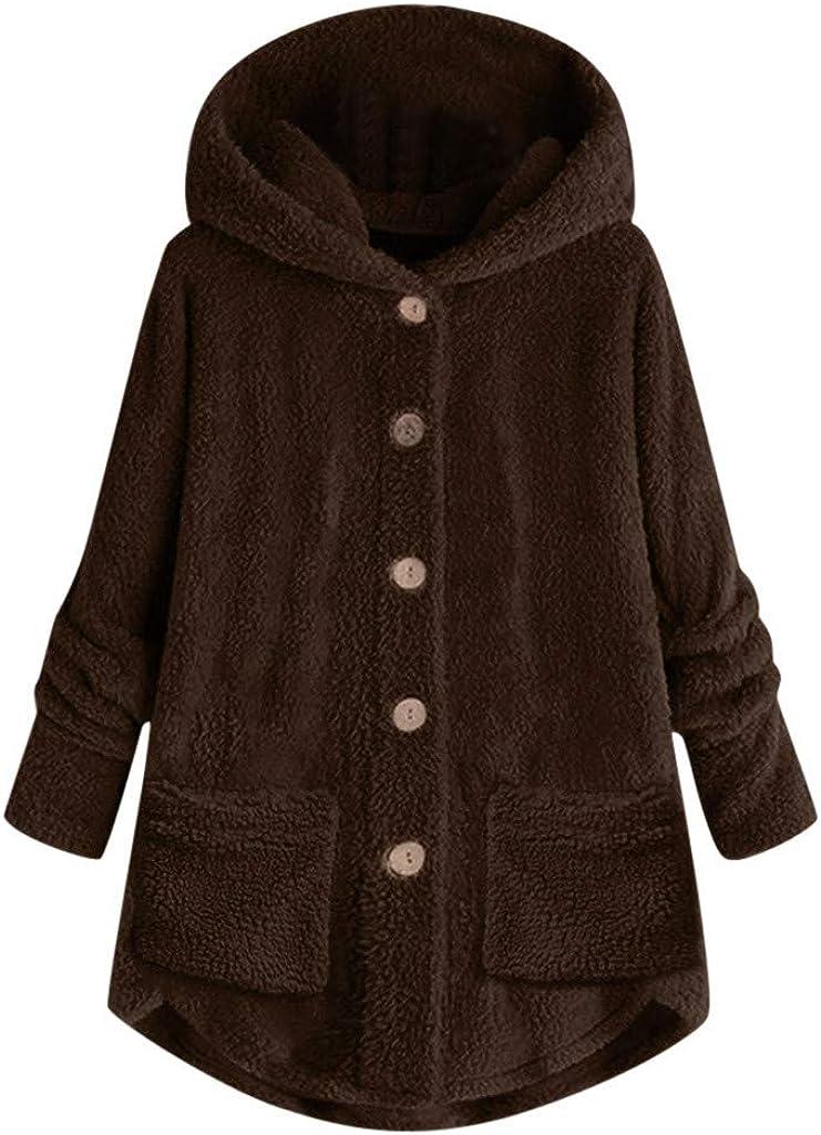 VISLINDU Womens Fuzzy Fleece Sweatshirt Solid Pullover Jacket Sherpa Hoodies Outwear Coat Casual Sweaters with Pockets