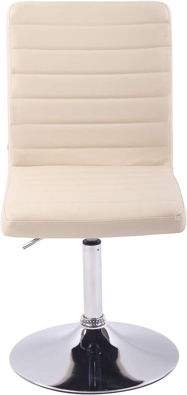 Chaise de Salle à Manger Elva Similicuir - Fauteuil de Salon Confortable Pivotante Hauteur Réglable - Chaise de Cuisine Rembourrée - Couleur, Couleurs:Blanc Crème