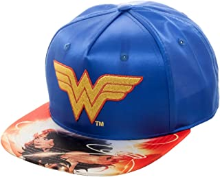 cd01b0deaff03e DC Comics Wonder Woman Satin Snapback Baseball Hat Blue