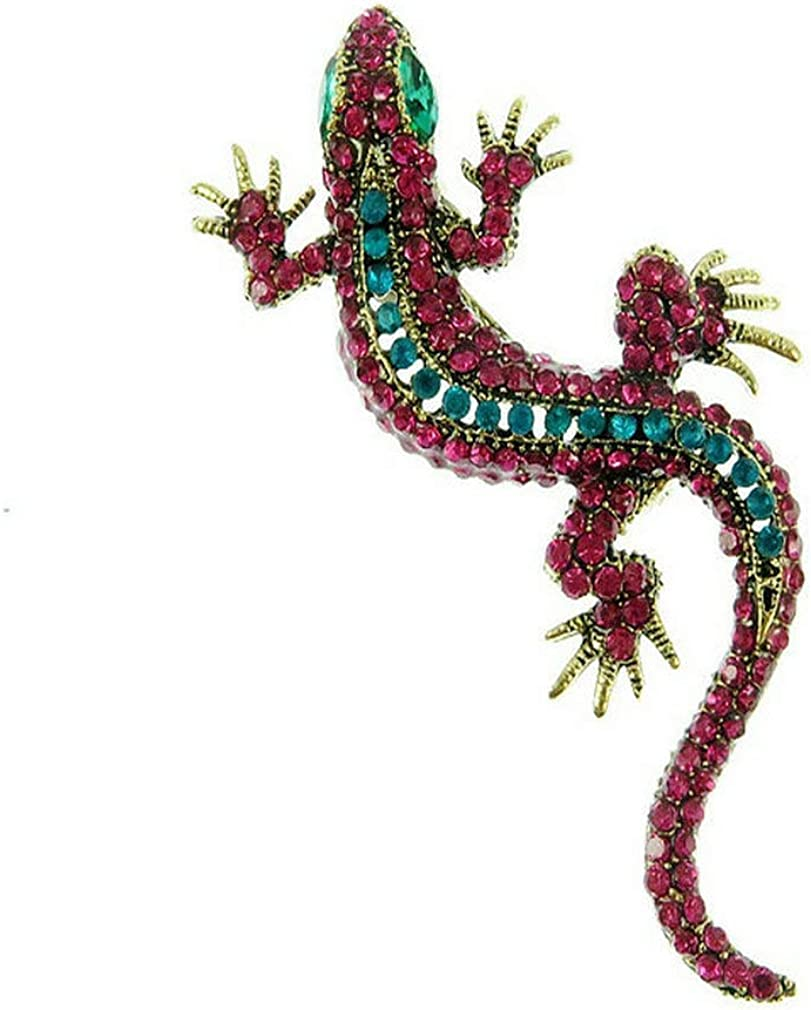 Topsee Lovely Colorful Crystal Brooch Pin Gecko Animal Lizard Jewelry Party Gifts