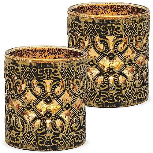 matches21 Windlichter Kerzengläser Teelichtgläser Orientalisch Marokko Design Gold antik Metalldekor 2er Set Ø 7x8 cm
