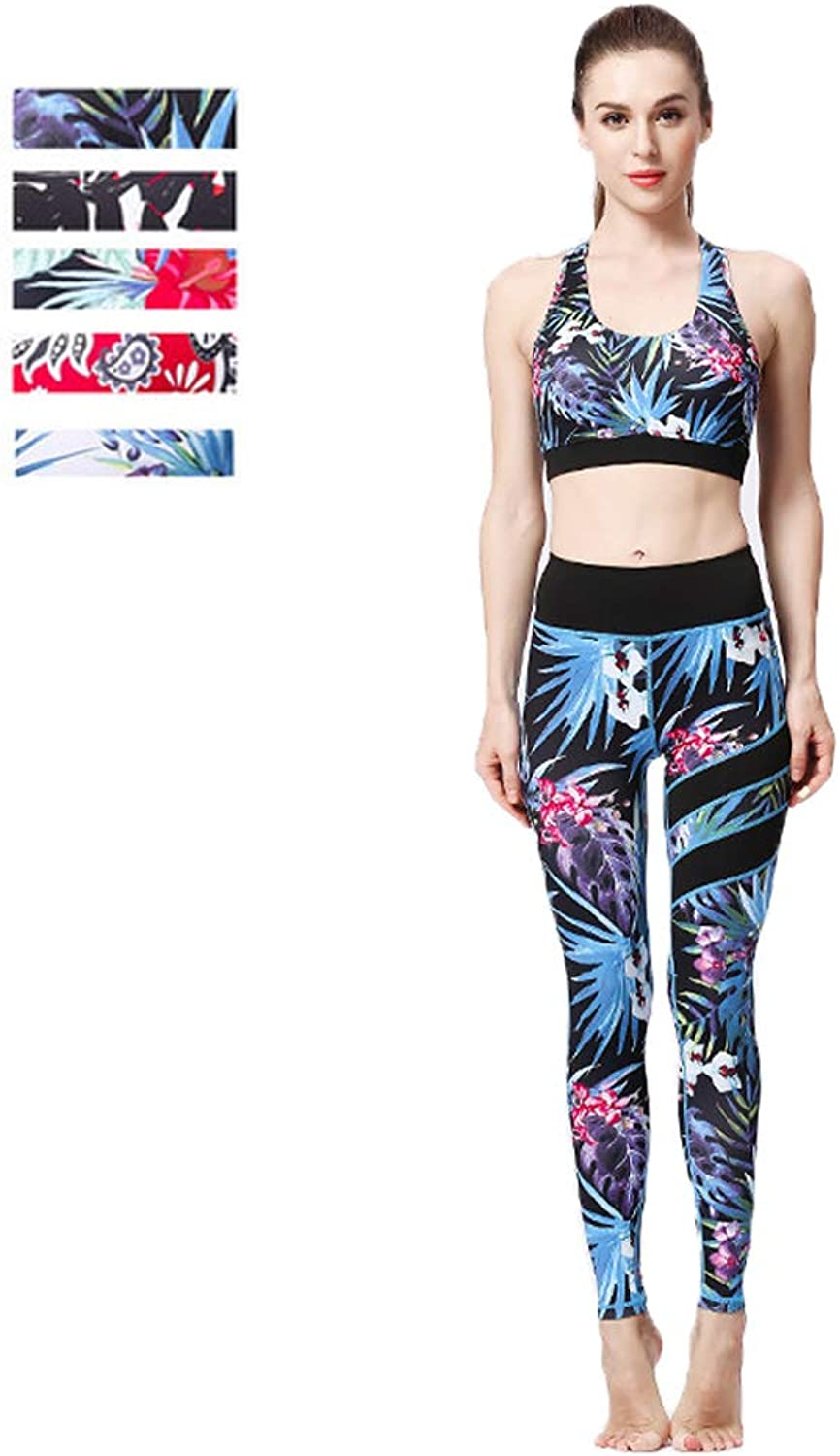 Yoga Clothing Female TwoPiece Sports Bra Tights Printing QuickDrying Flexible Elastic Suitable for Sports and Fitness