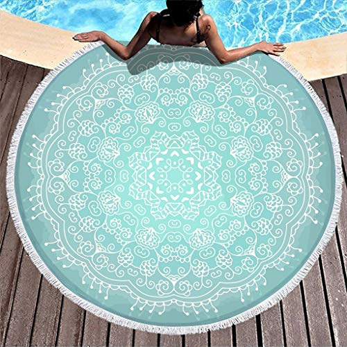 None Brand, toalla de playa ultra absorbente, color turquesa pálido, toalla de playa, cómoda toalla de playa, toalla de playa – para playa activa blanca 150 cm