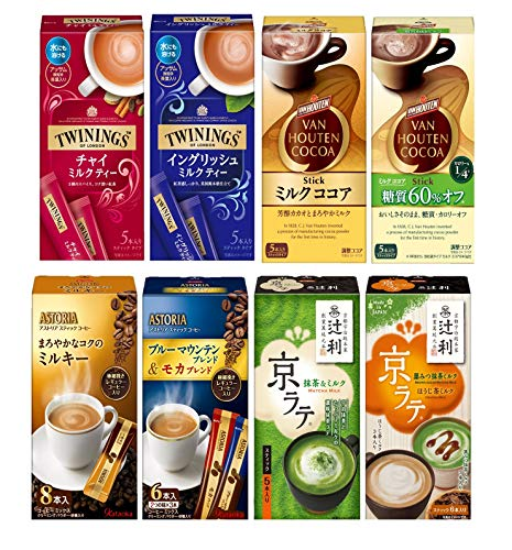 【Amazon.co.jp限定】 スティック バラエティセット 10種 (トワイニングチャイミルクティー1個、イングリッシュミルクティー1個、バンホーテンミルクココア1個、バンホーテン糖質60% オフ1個、アストリアミルキー1個、アストリアブルマン&モカ1