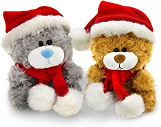 Plushland Adorable Soft and Hairy Santa Teddy Bear, Stuffed Animal -Holiday Toys - Xmas Party Favors for Kids (Brown and G...