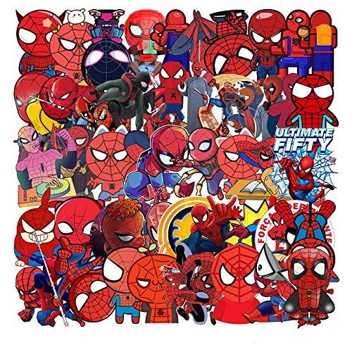 JZLMF 57 pegatinas impermeables para equipaje, frigorífico, taza de cerámica, coche o portátil, 57 dibujos animados, Spider-Man -132