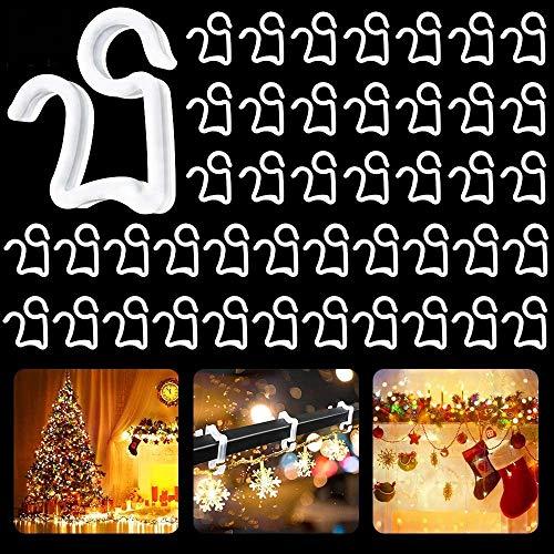 LYTIVAGEN 50 Stück Weihnachtslicht Clips Kunststoff Dachrinnenhaken Dachrinnen Clips Lichterkette Halterung Lichterkette Haken Mini Hängen Haken für Weihnachtslicht, Garten LED Licht Dekoration