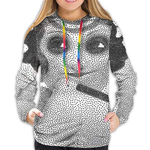 Women s Hoodies Tops,Pointillist Design of Pencil Drawn Curly Haired Girl Holding Her Tablet,Lady Fashion Casual Sweatshirt,S