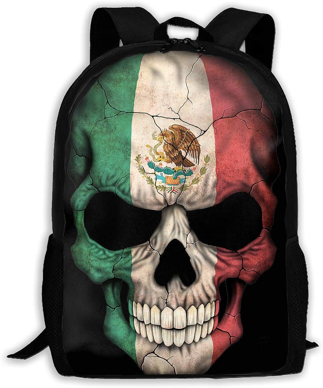 35596a1313da Mexican Flag Skull Backpack Laptop Bags Shoulder Bag College Daypack ...