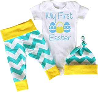 My First Easter Baby Boys Girls Outfit Set Eggs Printed Romper Short Sleeve Bodysuit Floral Pants with Hat 3Pcs Clothing Sets