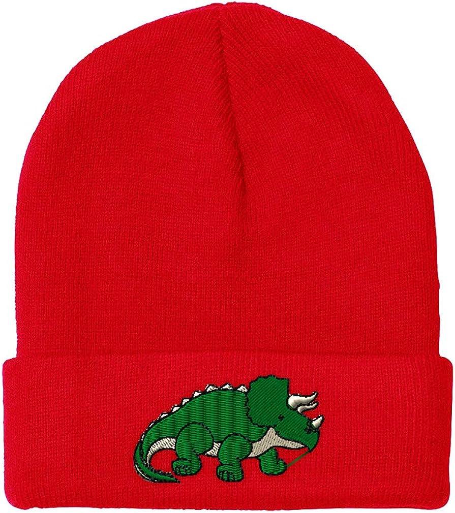 Speedy Pros Beanies for Men Triceratops Dinosaur A Embroidery Winter Hats Women Skull Cap
