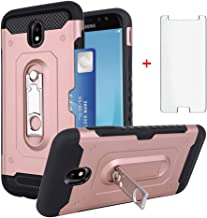 Phone Case for Samsung Galaxy J7 Pro J730G with Tempered Glass Screen Protector Credit Card Holder Wallet Kickstand Accessories Hard Protective Cover Glaxay J7pro J 7 2017 J730F SM-J730GM/DS Rose Gold