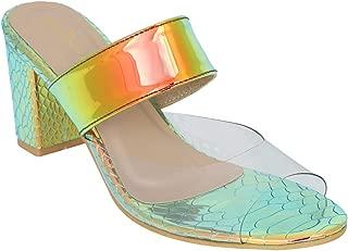 pelle albero Womens Gold Block Heel Slippers