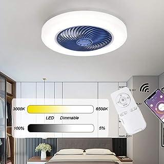 Dagea Dormitorio Ventilador de Techo con iluminación LED Regulable Lámpara de Techo, App Control Remoto Atenuación, Ultra silencioso Luces del Ventilador para Sala de Estar Restaurante Lámpara,Azul