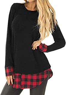 Women Loose Blouse Casual Long Sleeve Plaid Tops Patchwork O Neck Sweatshirt