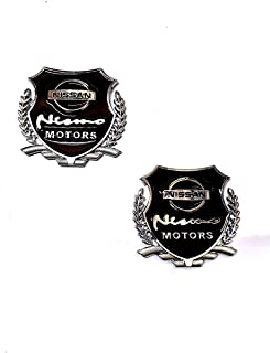 Automaze Nissan Motors Logo Stickers For Car | Metal Sticker, Silver Color, Universal Stickers | Car Exterior Accessories