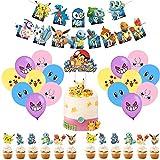 YII - Pokemon Globo,Pikachu Globos de Fiesta,Globos de Cumpleaños,Pokemon Decoraciones Suministros,Globo Suministros de Fiesta para (38 Piezas)