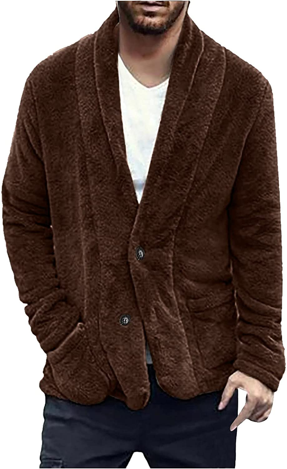 UBST Fleece Cardigans for Mens, Fall Double-sided Fluffy Single Breasted Button Casual Fuzzy Outerwear with Pockets