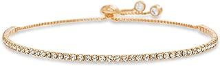 Sterling Silver 2mm Round Crystal Adjustable Bolo Slider Tennis Bracelet for Women made with Swarovski Crystals (Various Colors)