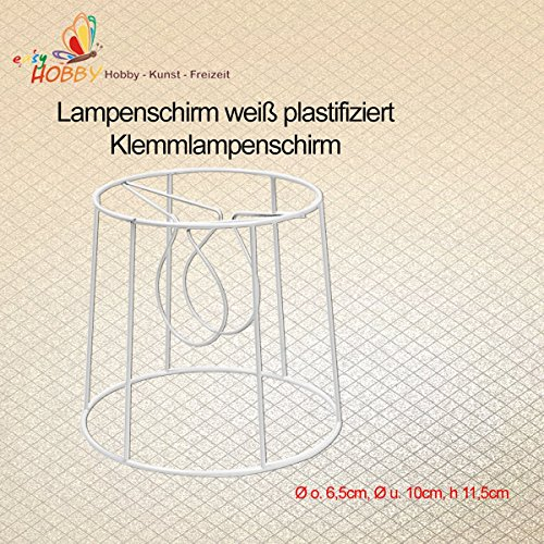 SMITS Klemm-Lampenschirmgestell, weiß plastifiziert, Ø o. 6,5cm, Ø u. 10cm, h 11,5cm