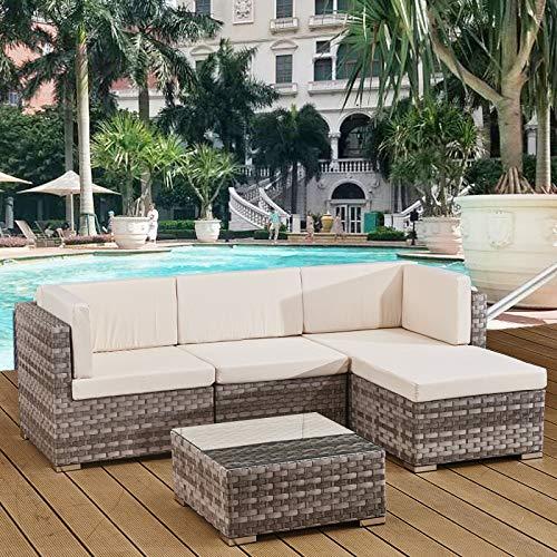 Avril Paris 4 seats outdoor sofa rattan garden furniture set - Grey - CANNES