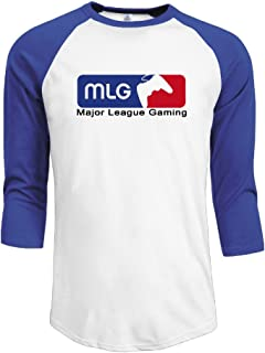 OraJoymst Men's Major League Gaming MLG Esports Logo 3/4 Sleeve Raglan T Shirt Black