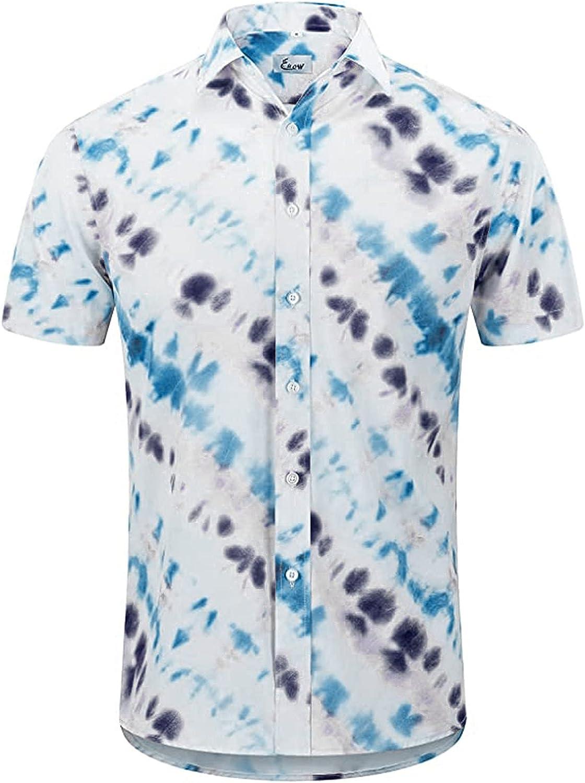 Men's Hawaiian Shirt Short Sleeves Tie-Dye Prints Button Down Summer Beach Dress Shirts Casual