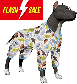 LovinPet Big Dog Pajamas/Dinosaurs Prints for Large Dog Jamammies/Large Dog Clothes Dog Pajamas Post Surgery Wear Pitbull Lightweight Large Dog Shirt for Labrador Doberman Boxer