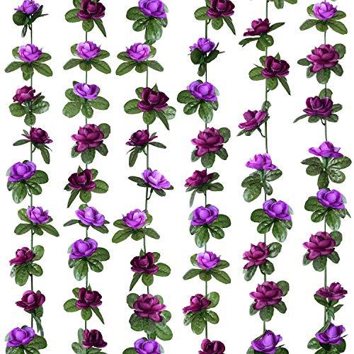 Lvydec 6 Pack Artificial Rose Garland - 8.2ft/Strand Fake Rose Vine Flower Garlands Hanging Plants for Wedding Arch Home Decoration (Purple)